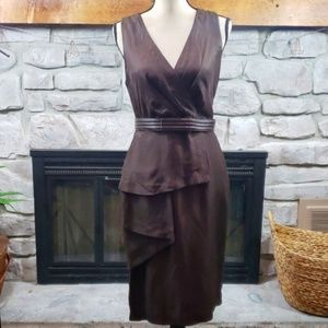 Vtg Anne Klien brown origami fold v-neck dress 8